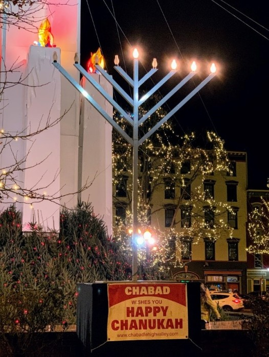 Chanukah Menorah in Easton on Christmas Eve 2019