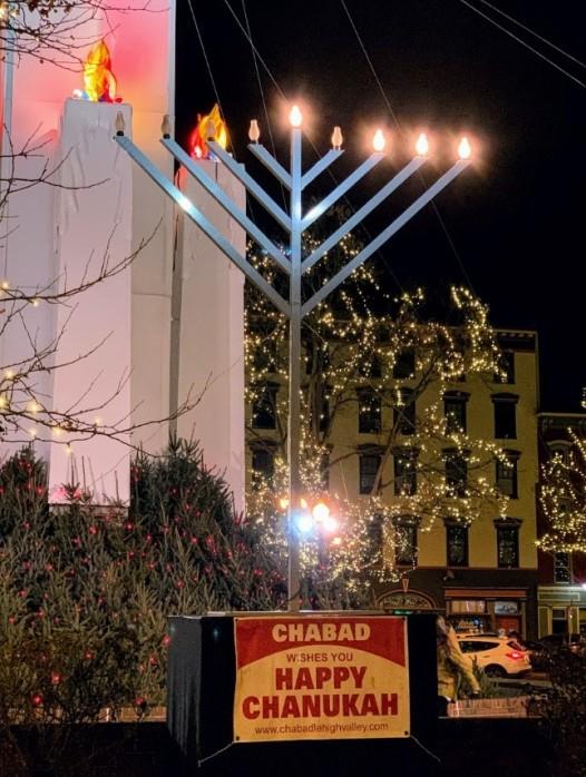 Chanukah Menorah in Easton on Christmas Eve 2019