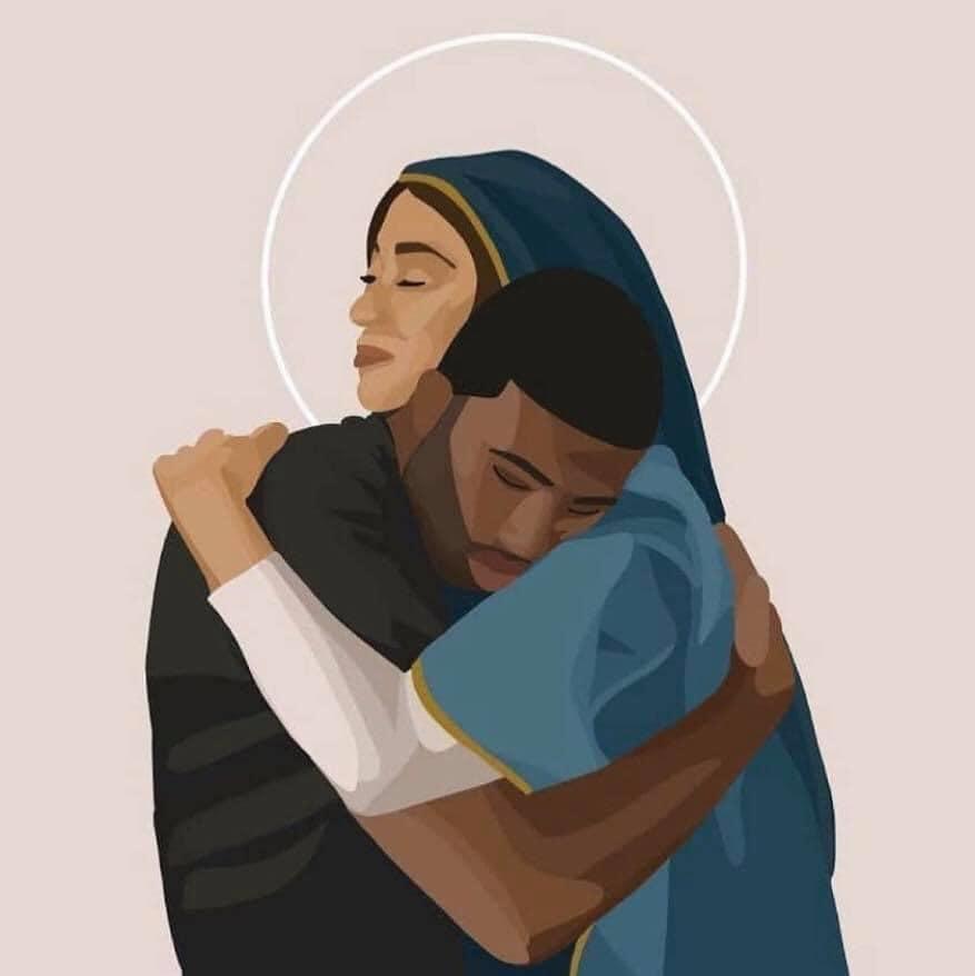 Mary embraching George Floyd